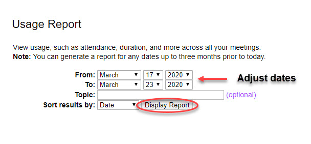 Select date range and click display report.