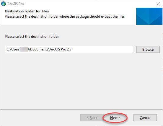 ArcGIS Pro instal Select destination folder