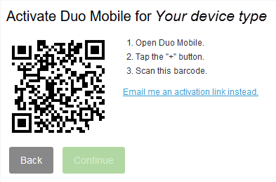 Screenshot for step 11. Example of Duo activation QR code.