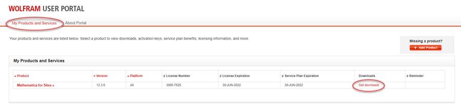 Wolfram user portal