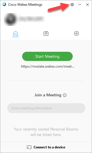 Screenshot showing the settings icon in the Cisco Webex Meetings app
