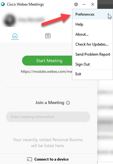 Screenshot showing the Preferences link in the Cisco Webex Meetings app