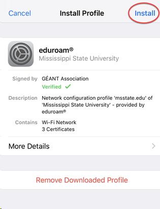 eduroam certificate