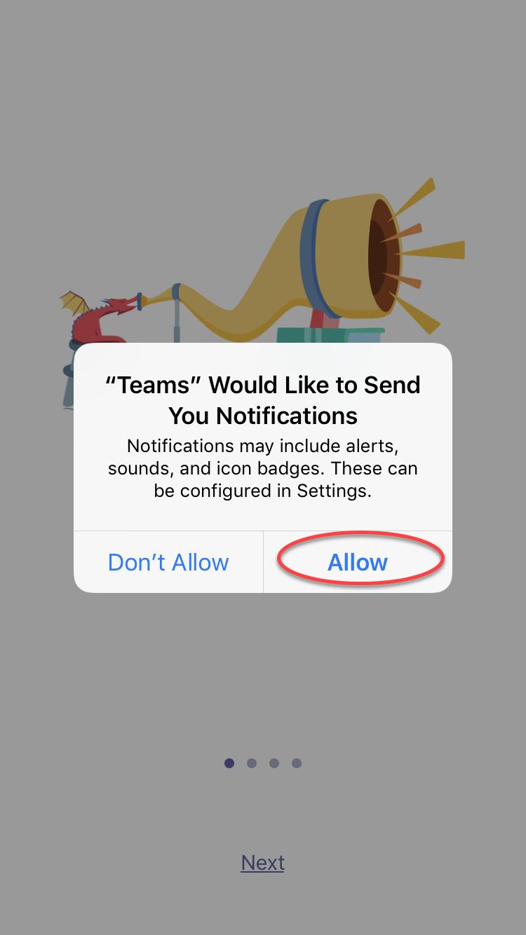 Microsoft Teams enabling notifications