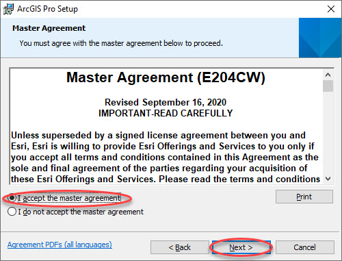 ArcGIS Install Master Agreement
