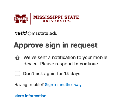 Screenshot for step 2 showing Microsoft sending an approval request to your device