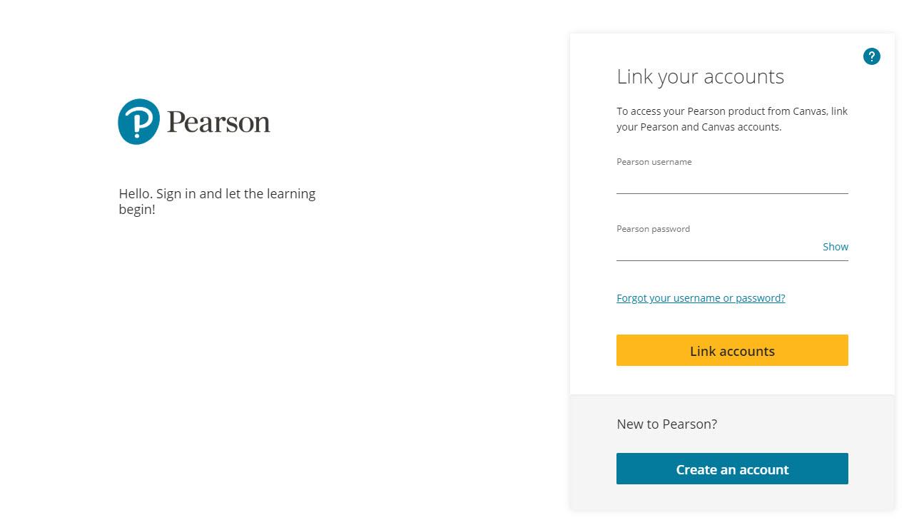Pearson Login Screen