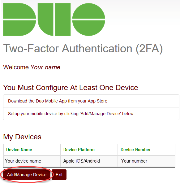 Screenshot for step 4 displaying the Duo account page and the Add/Manage Device button