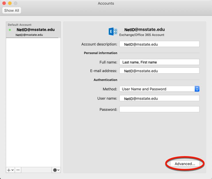 Click Advanced in the accounts window