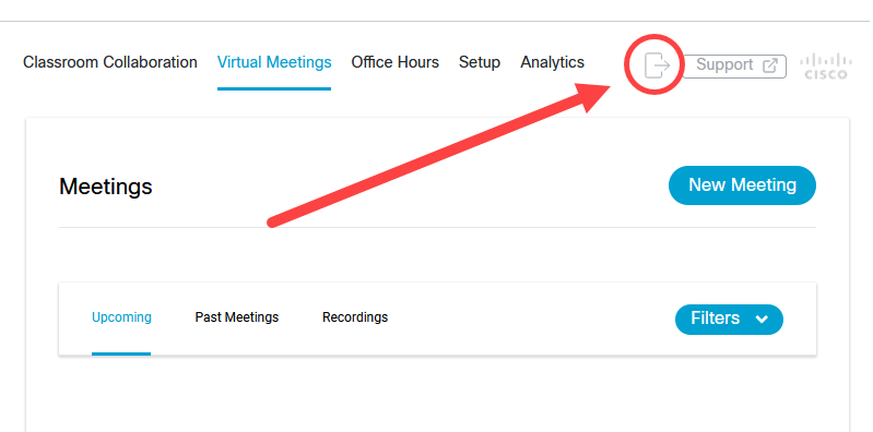 Webex Sign out button