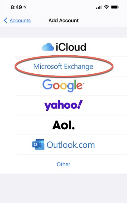 Microsoft Exchange option
