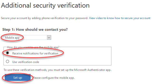 Screenshot for step 5 showing the additional security verification screen settings