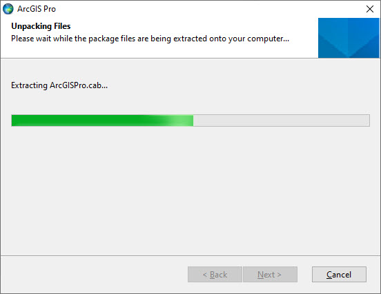 ArcGIS Pro install Unpacking files