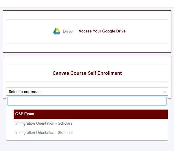 Self Enroll Menu
