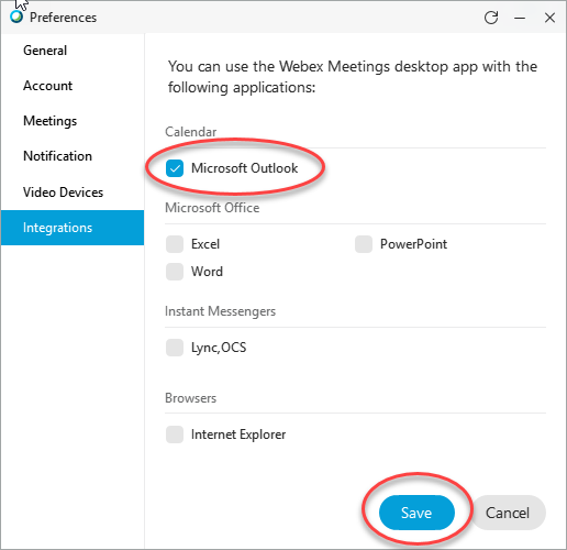 Screenshot showing the Integrations tab in the Cisco Webex Meetings app