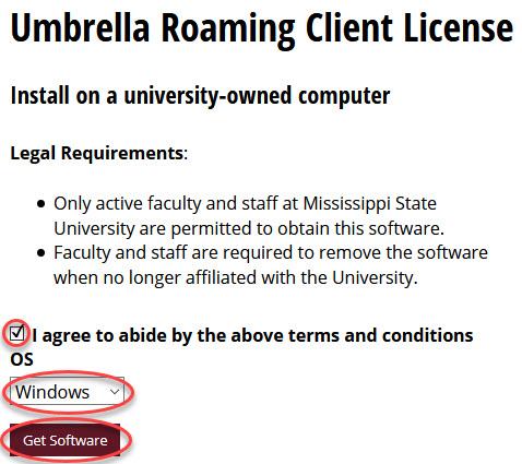 Umbrella client download page
