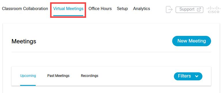 Virtual Meetings tab in Webex