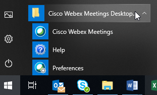 Screenshot showing the Cisco Webex Meetings desktop app in the Windows start menu