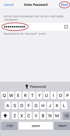 Password for eduroam