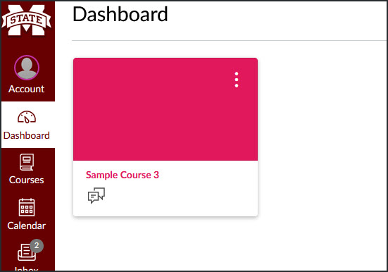 the course will now be on the Canvas dashboard