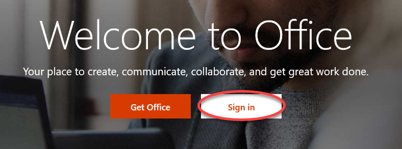 Office.com sign in screenshot