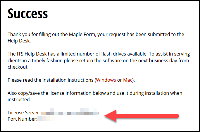 Screenshot of the software request success screen displaying the licensing information.