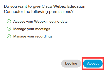 Webex Permissions Request prompt