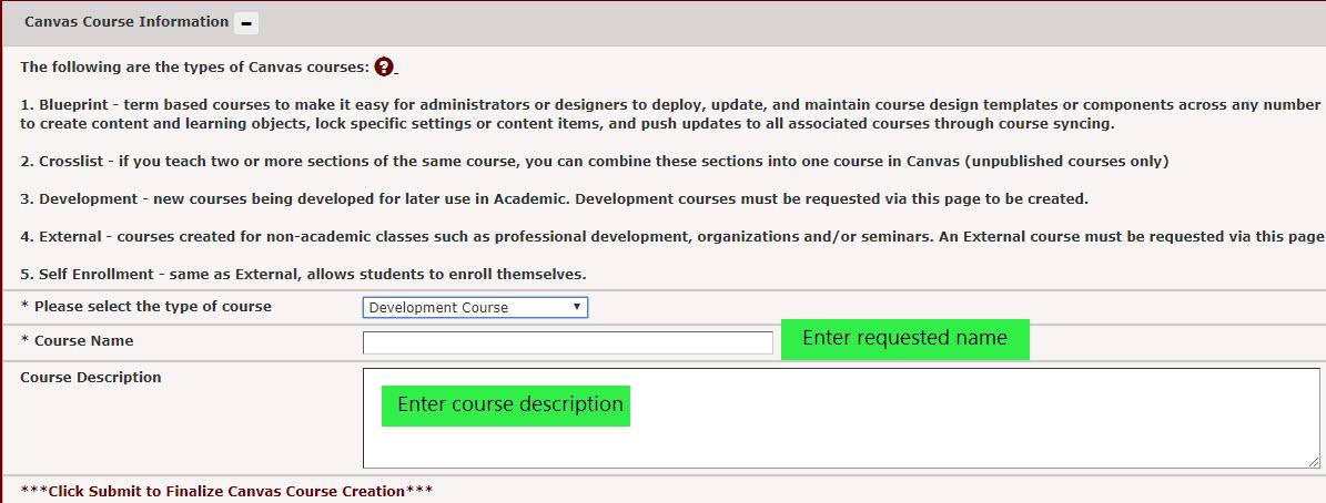 Enter a developmental course name and description