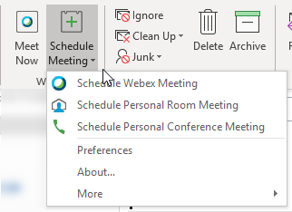 Screenshot showing the Webex plugin in Microsoft Outlook