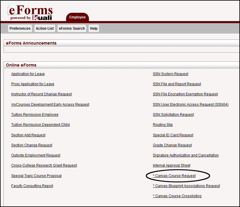 Select Canvas Course Request on the eform page