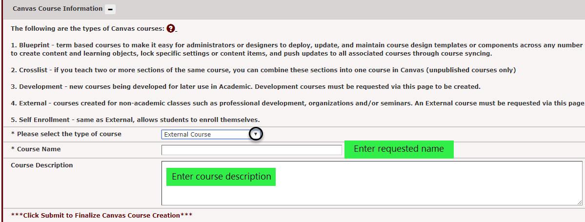 enter an external course name and description